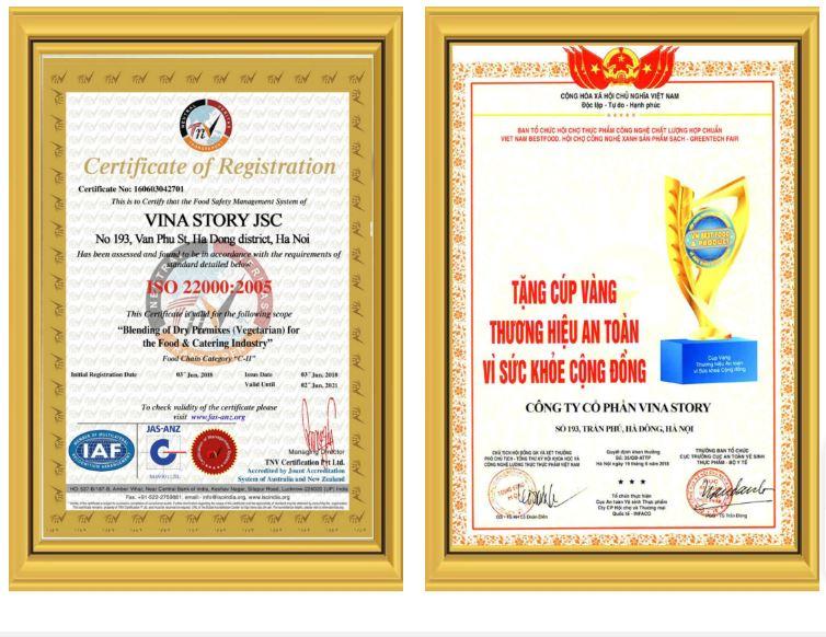 giấy chứng nhận công ty cung cấp suất ăn công nghiệp Vina Story