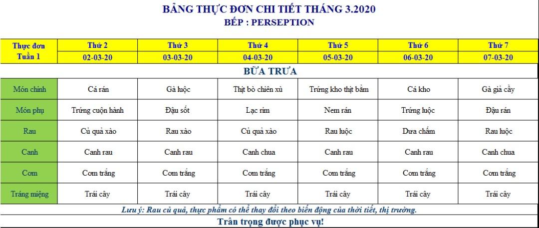 bảng thực đơn suất ăn trường học 16k Bắc Ninh